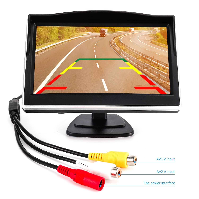 5 LCD Rear View Monitor Xin Horizon Backup Camera and Monitor Kit for Car,Universal Wired Waterproof Rear-View License Plate Car Rear Backup Camera