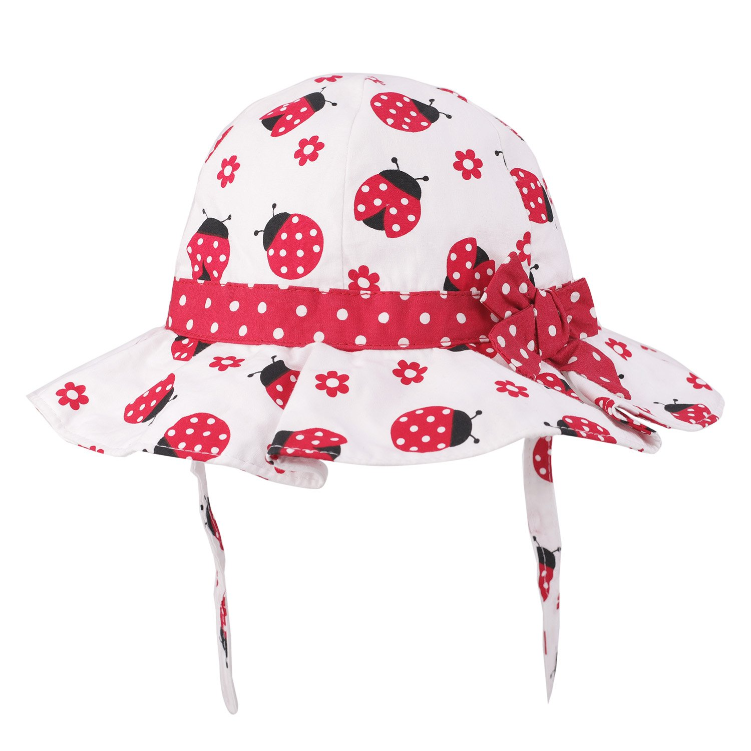 Baby Girls Toddler Cotton Bucket Hat Summer Bowknot Hat Printed Sun Hat UV Protection (6 Months - 4 Years) (6-12 Months, Red/Beetle)