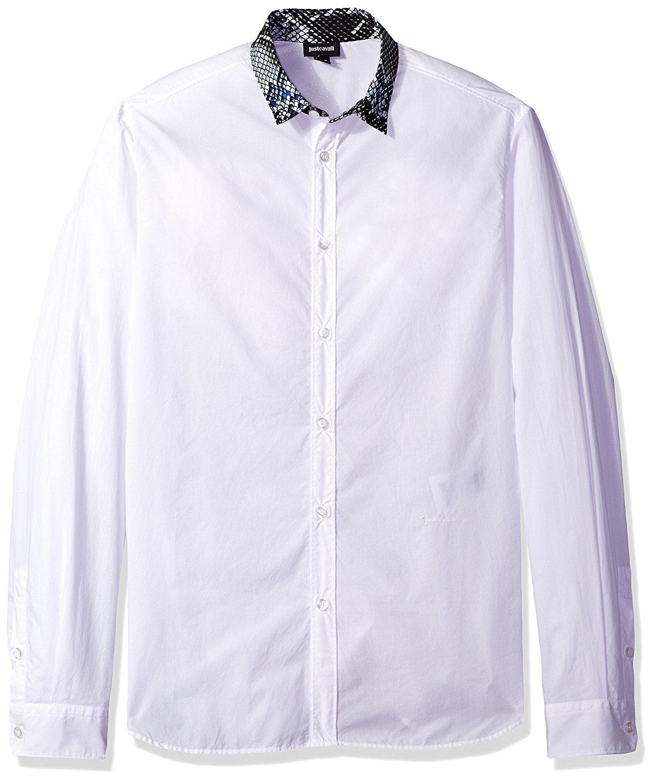 Just Cavalli Men's Long Sleeve Casual Shirt (White, 56)