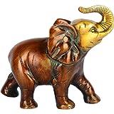 Aesthetic Decors Brass Elephant Trunk Up Figurine (14 cm x 13 cm x 5 cm, Multicolour)