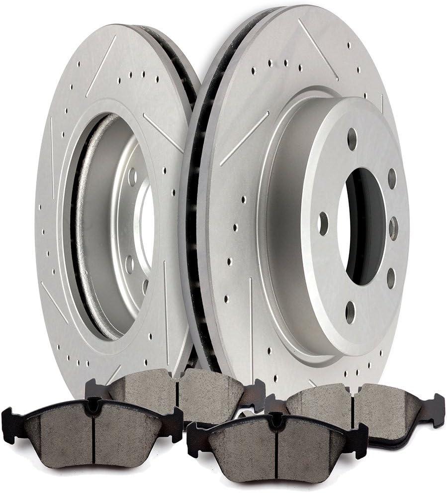 Max Brakes Front Supreme Brake Kit Fits: 2007 07 2008 08 Honda Fit KM001201 E-Coated OE Rotors + Ceramic Pads