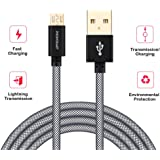 Phonokart Fishnet Gold Plated Micro USB Cable for All Android Micro USB Supported Devices - 1 Metre (Black) (Grey)