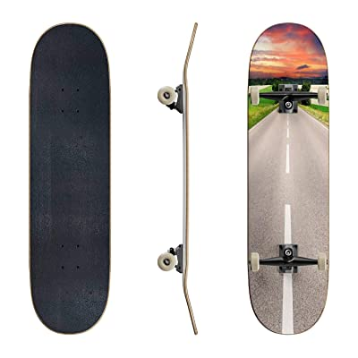 EFTOWEL Skateboards Road and Dramatic Sky Fresh Asphalt Asphalt Road Stock Pictures Classic Concave Skateboard Cool Stuff Teen Gifts Longboard Extreme Sports for Beginners and Professionals : Sports & Outdoors