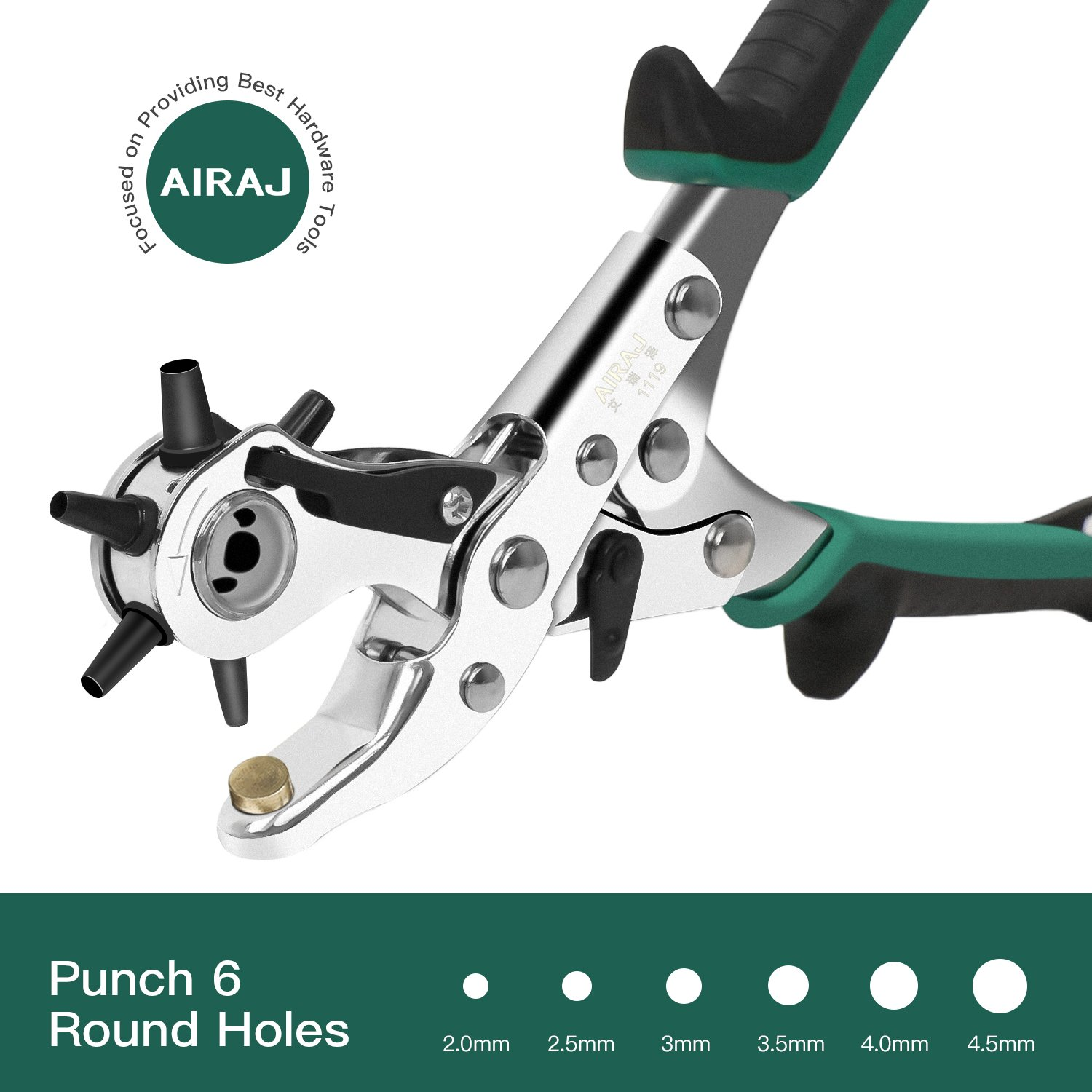 AIRAJ Punch Pliers Leather Belt Hole Punch Plier Revolving Multi Hole for Belts,Fabric,Rubber,Paper, Puncher Craft Maker Piler Tool Punch 6 Round Sizes From 5/64 Inch to 3/16 Inch by AIRAJ