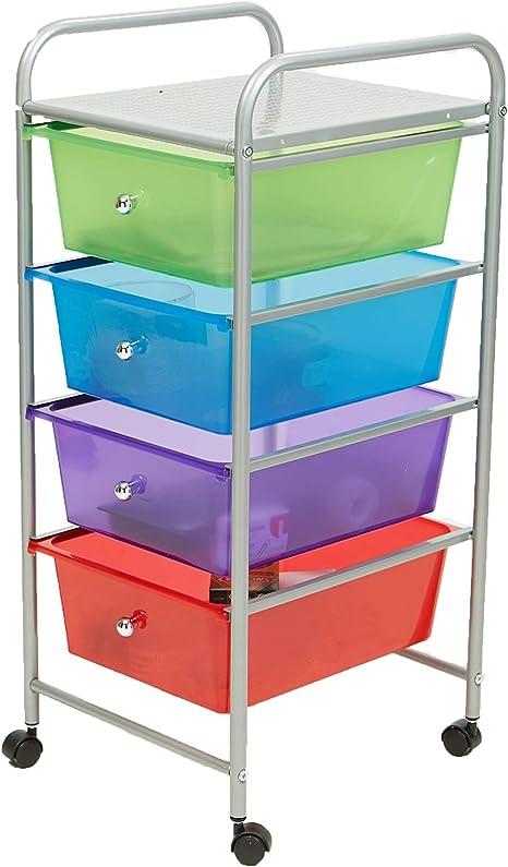 Metal Frame Plastic Drawers Organizer,Rolling Storage Bin Organizer Cart,Scrapbook Art Supply and Paper Shelf,Home Office School Beauty Salon Utility Organizer Cart 6 Tier 6-Drawer, White