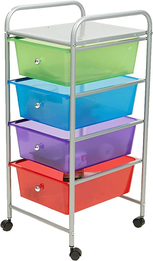 Three-Drawer Storage Cart Clear Plastic Pull-Out Bins Organizer with Four Wheels