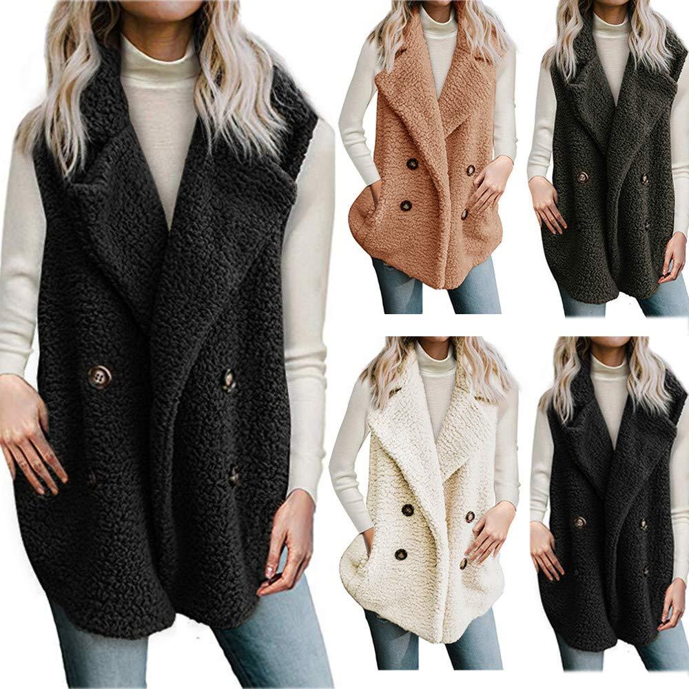 Femmes Gilet d'hiver Chaud Hoodie Outwear Décontracté Manteau Fausse Fourrure Zip Up Sherpa Veste (XL, Blanc) B-vert