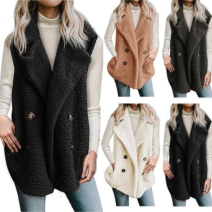 Beladla Chaleco de Invierno Mujer cálido Sudadera con Capucha Pelo sintético Chaqueta Sherpa con Botón Jersey Sweater Abrigos: Amazon.es: Zapatos y ...