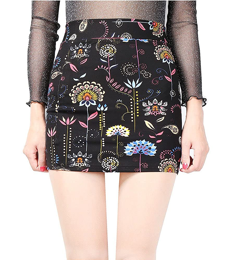 c64a0fdf817 Top1  Allonly Women s Bodycon Print Elastic Waist Stretch High Waisted  Short Mini Pencil Skirt