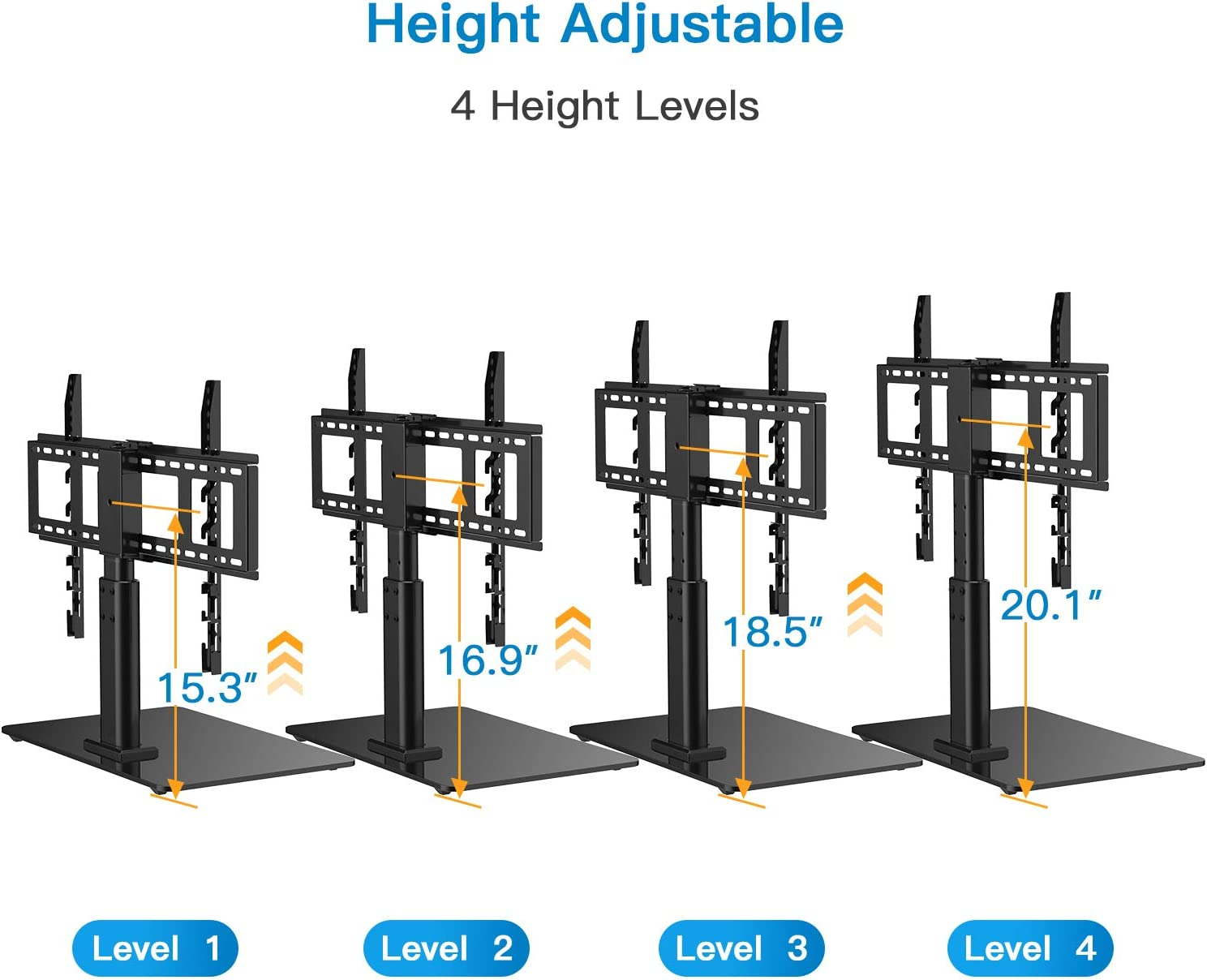 4 Height Adjustments HUANUO Universal Tabletop TV Stand Holder for 32 to 60 Inch Flat Screen Television with 70 Degrees Swivel Anti-Tip Strap Tempered Glass Base Black VESA up to 600x400