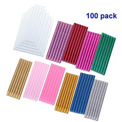 100pcs 7 * 100mm barras silicona caliente Pegamento termofusible adhesivos coloreados del arma del pegamento caliente del arte del brillo del paquete