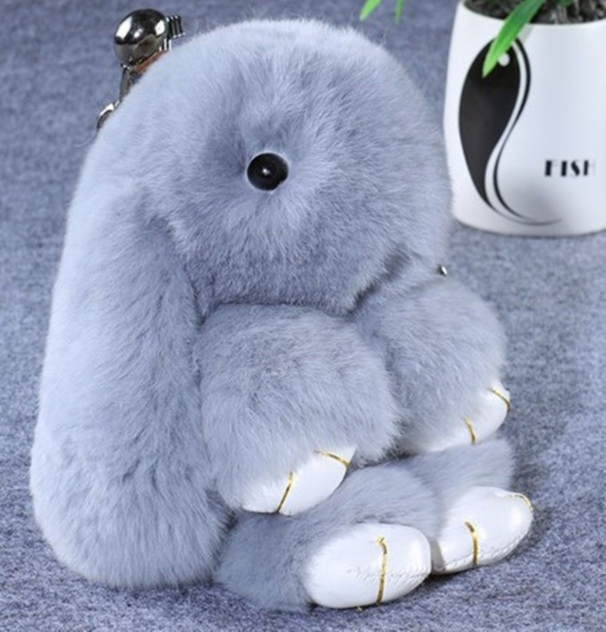89a3d4e4a 1 Pcs Mini Pocket Violet Fluffy Rabbit Keychain Keyring Keyfob Bunny Fur  Pom Plush Ornament Pendant Keys Chains Rings Tags Strap Wrist Wonderful  Popular ...