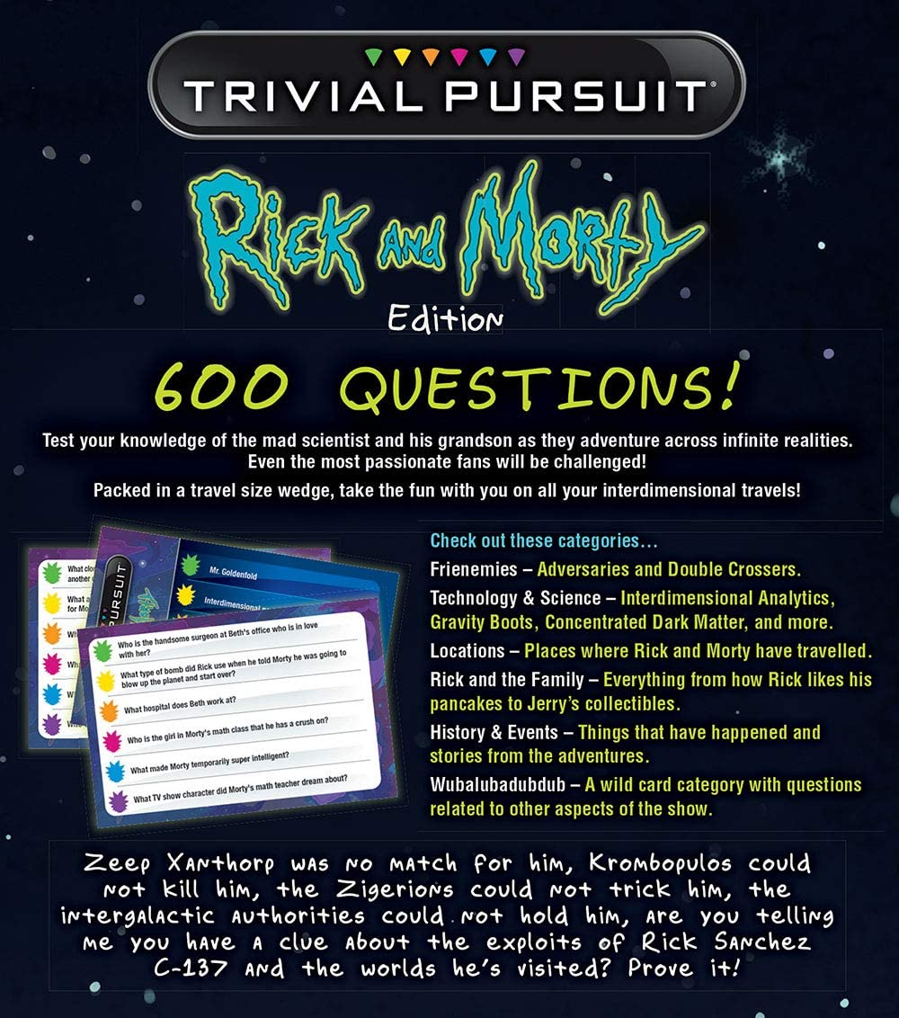 USAopoly Rick and Morty Trivial Pursuit Board Game - Ingles: Amazon.es: Juguetes y juegos