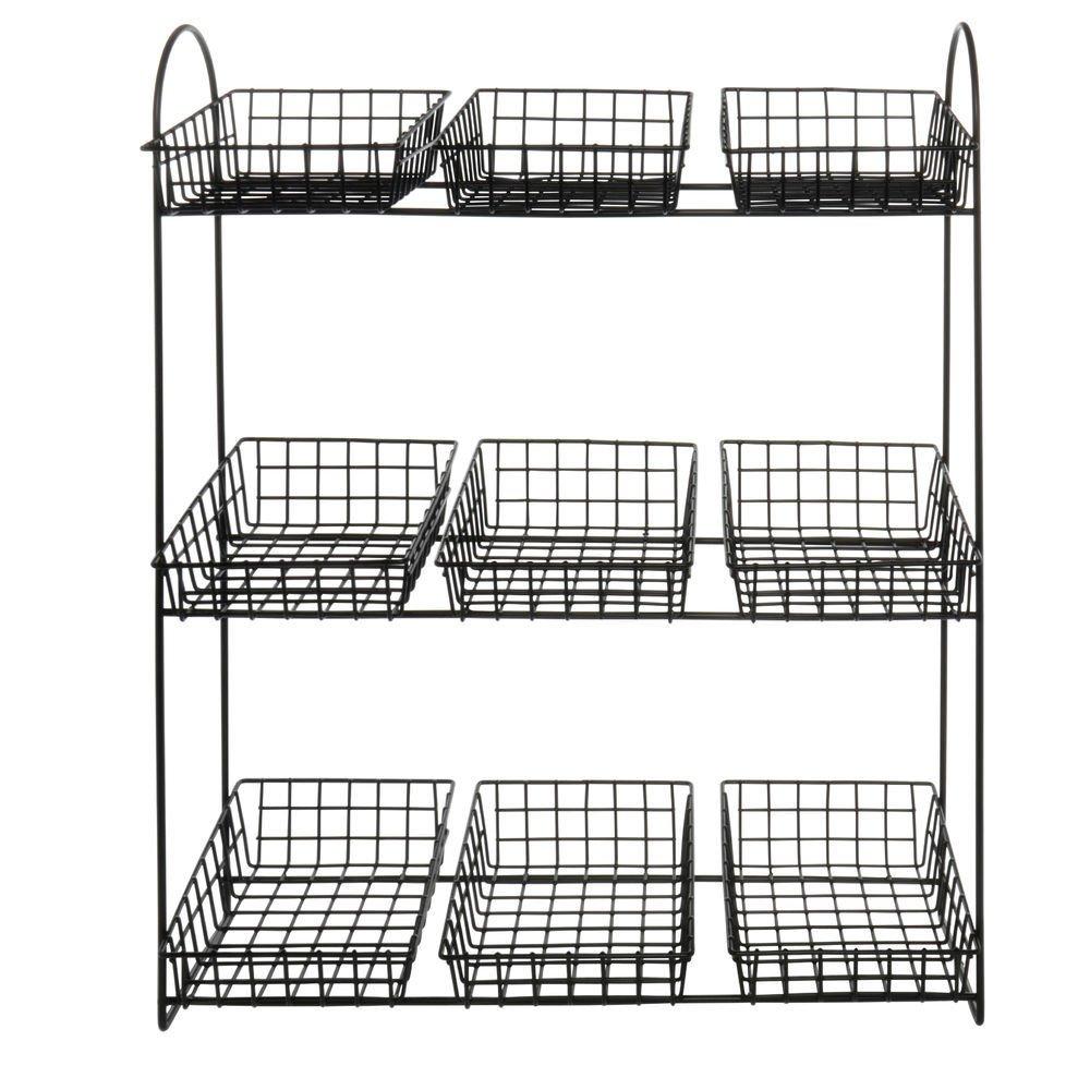 Merchandising Rack 3 Tier Black with 9 Baskets - 19''L x 7 3/4''W x 24''H