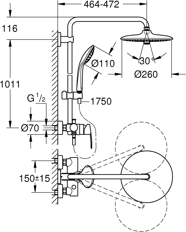 Grohe Vitalio Joy 260 - Sistema de Ducha color cromo, 260 mm (Ref ...