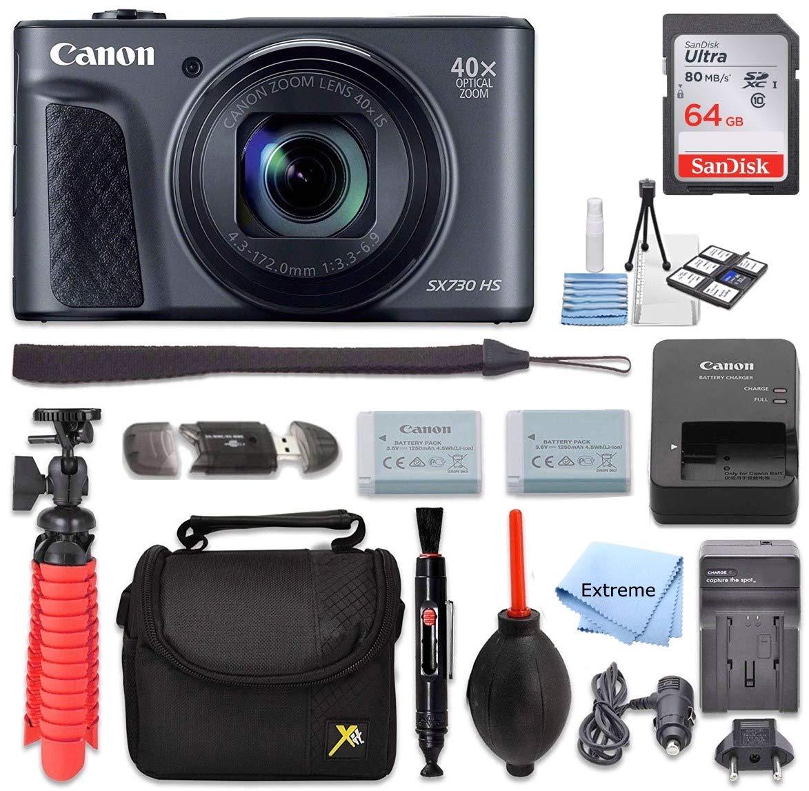 Canon PowerShot SX730 HS デジタルカメラ (ブラック) + 64GB メモリーカード + ポイント&シュートケース + フレキシブル三脚 + USBカードリーダー + レンズクリーニングペン + クリーニングキット + フルアクセサリーセット   B07MDDPPV1