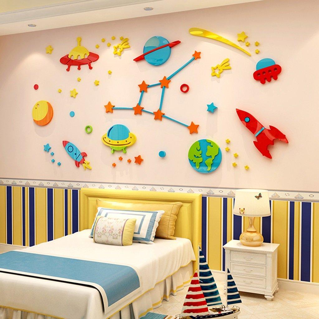 DWW-Wandsticker Wandaufkleber Cosmic Star Acryl 3D Kinderzimmer Cartoon Aufkleber Kindergarten Wand Wasserdicht Einfache Installation Wandsticker ( größe : S )