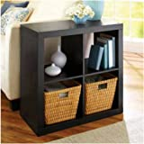 Better Homes and Gardens Bookshelf Square Storage Cabinet 4-Cube Organizer (Solid Black)