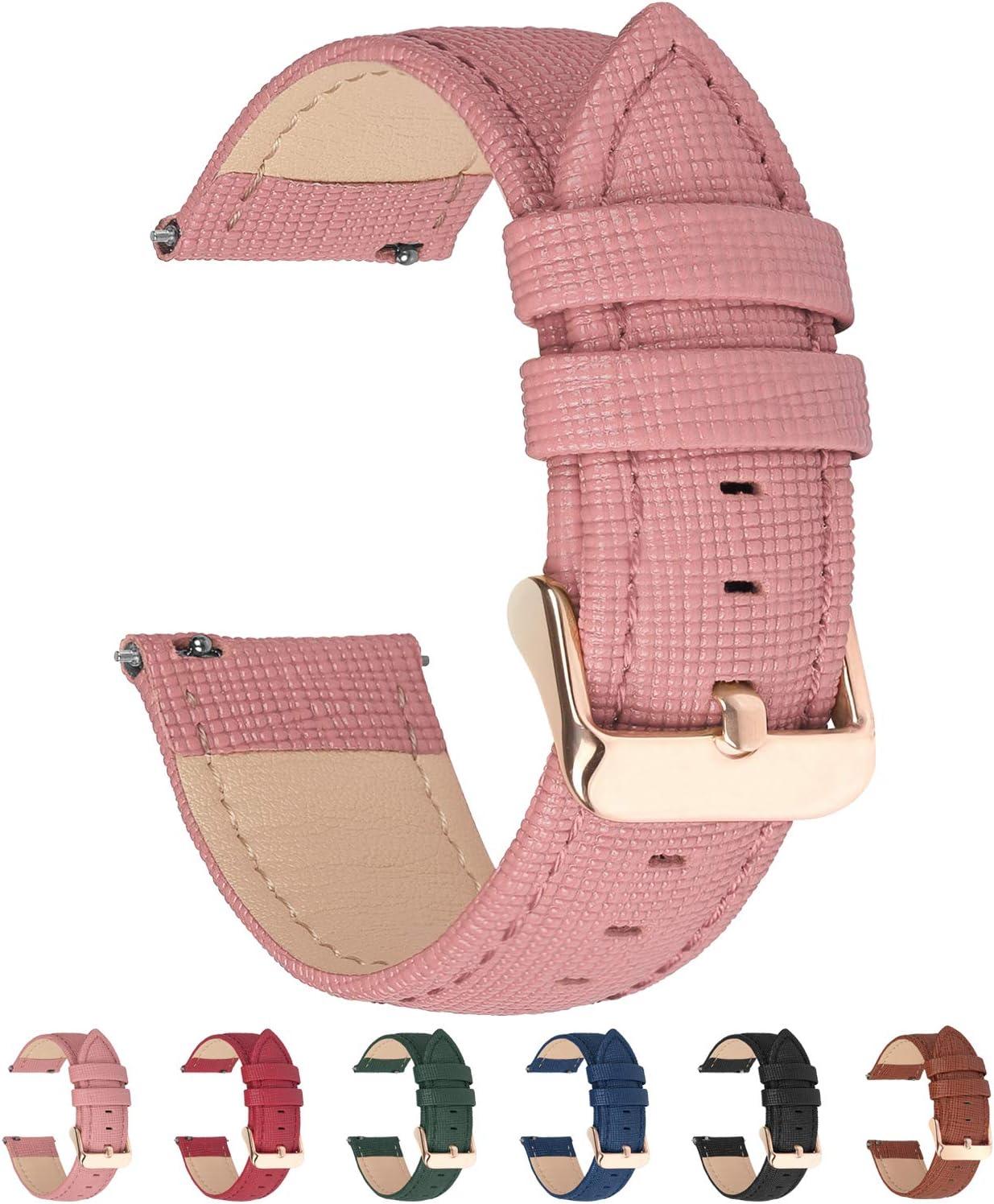 Fullmosa 6 Colores para Correa de Reloj, Cross Piel Correa Huawei Samsung Correa/Banda/Band/Pulsera/Strap de Recambio/Reemplazo 18mm 20mm 22mm 24mm,Rosada 18mm