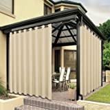 BONZER Waterproof Indoor/Outdoor Curtains for Patio Thick Privacy Grommet Curtains for Bedroom, Living Room, Porch, Pergola,