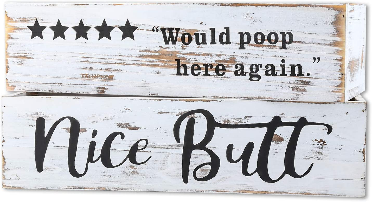 Aphei Nice Butt Bathroom Decor Box, Wooden Farmhouse Rustic Home Toilet Paper Holder Stand, Funny Cute Restroom Storage Organizer, White: Home & Kitchen