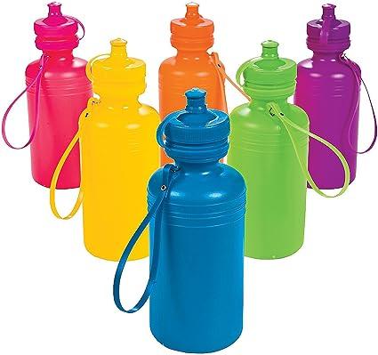 Amazon Com Fun Express Neon Sport Water Bottles 1 Dozen Party Supplies Drinkware Incentives Plastic Water Bottle Sports Outdoors