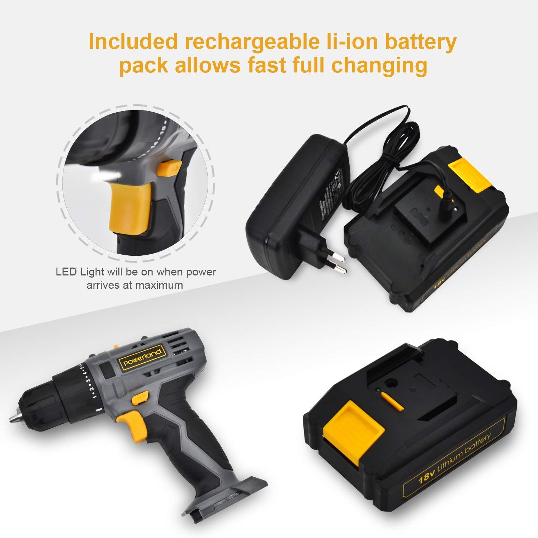 powerland 18V variable velocidad 0–350/0–1300RPM destornillador percutor eléctrico Li-Ion gris función cierre rápido con juego de accesorios…