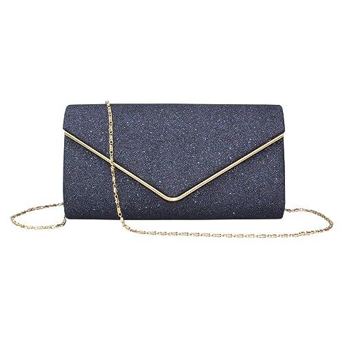 7d416cbb6 Labair Womens Shining Envelope Clutch Purses Evening Bag Handbags for  Wedding and Party (Blue)