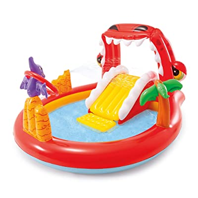Methink Toy Happy Dino Outdoor Inflatable Kiddie Pool Play: Garden & Outdoor