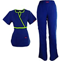 ER-04-CHIPI- CONJUNTO ANA ISABEL UNIFORMES Cuello redondo y elegante vivo- Conjunto de Uniforme Médico para Mujer - Dama - Traje Completo Filipina y Pantalón Médico - Quirúrgico para Doctoras - Enfermeras - Médicas - Conjunto Quirúrgico para Dama - Mujer - Scrub y Pant