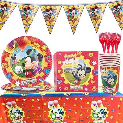 Wents Set Festa Di Compleanno Di Topolino 53pcs Kit Party Festa In Tavola Mickey Mouse Club House Disney Mickey Mouse Accessori Per Feste Per Bambini Per 8 Persone Amazon It Casa E Cucina