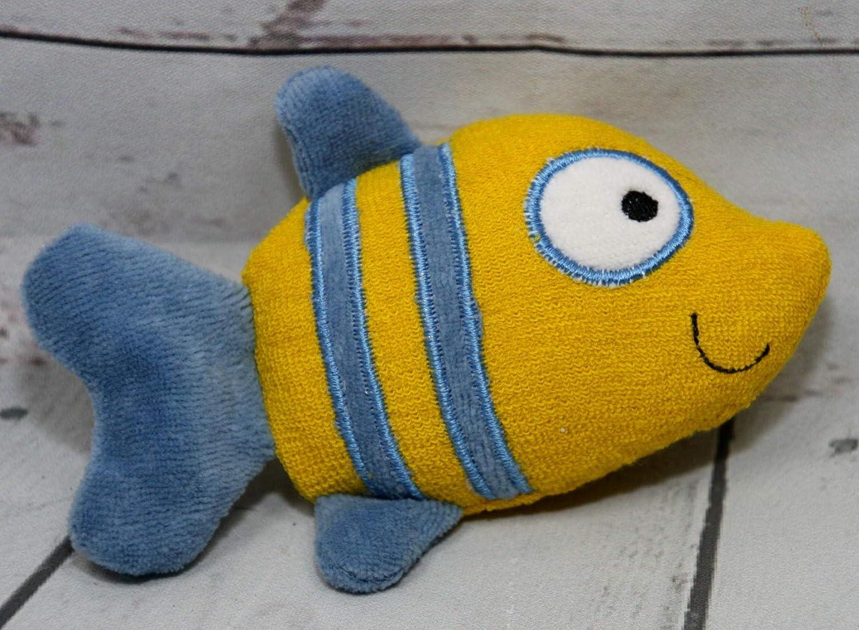 Kuscheltier Fisch gelb blau personalisierbar mit Namen, Rassel, Bio Nicki Frottee Baumwolle
