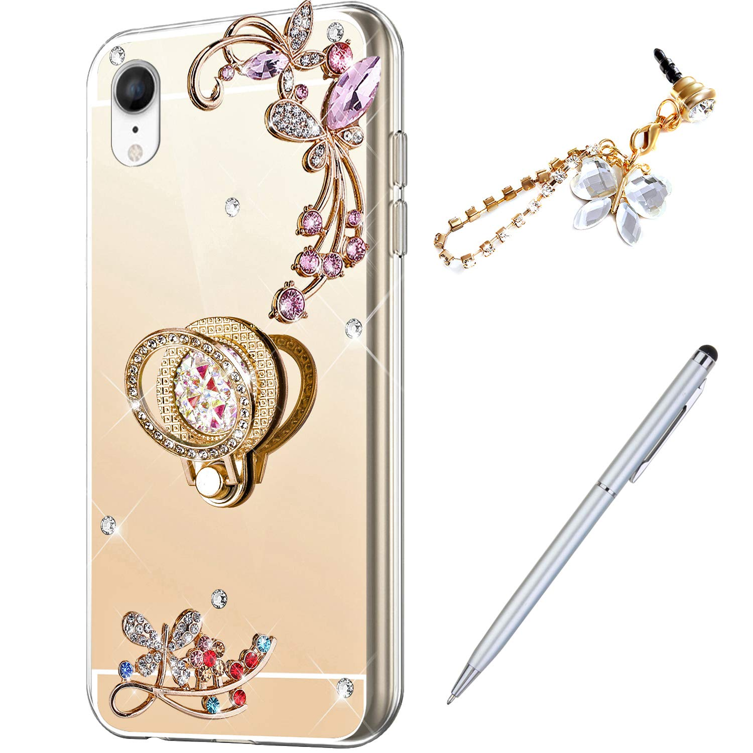 ikasus Case for iPhone XR Diamond Case,Crystal Inlaid diamond Butterfly Rhinestone Diamond Glitter Bling Mirror Back TPU Case & Ring Stand + Touch Pen Dust Plug for iPhone XR Mirror Case,Gold by ikasus