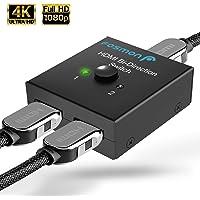 Fosmon 2-Port HDMI 2.0 Switch 4K 60Hz,  2x1 / 1x2 Bi-Directional HDMI Switcher UHD 4Kx2K 3D HD 1080p HDCP, 2 Input 1 Output Splitter Hub Compatible with HDTV, PS4, Xbox One, Apple TV, Roku, Fire Stick