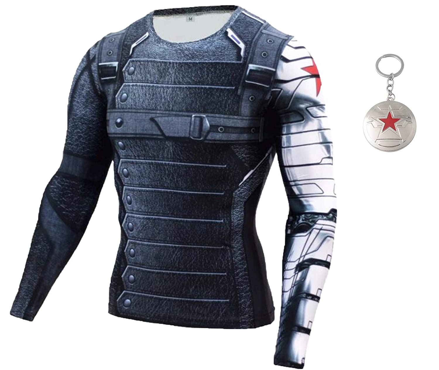 ec365ad42f614 1Bar Winter Soldier Compression Shirt Men's Workout Training Dri-Fit  Stretch Long Sleeve Gym Shirt Plus Free Keychain