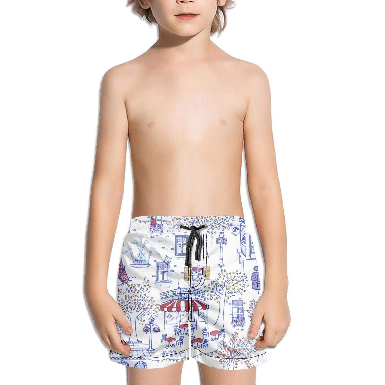 Lenard Hughes Boys Quick Dry Beach Shorts Pockets Abstract Paris Travel Swim Trunks Summer