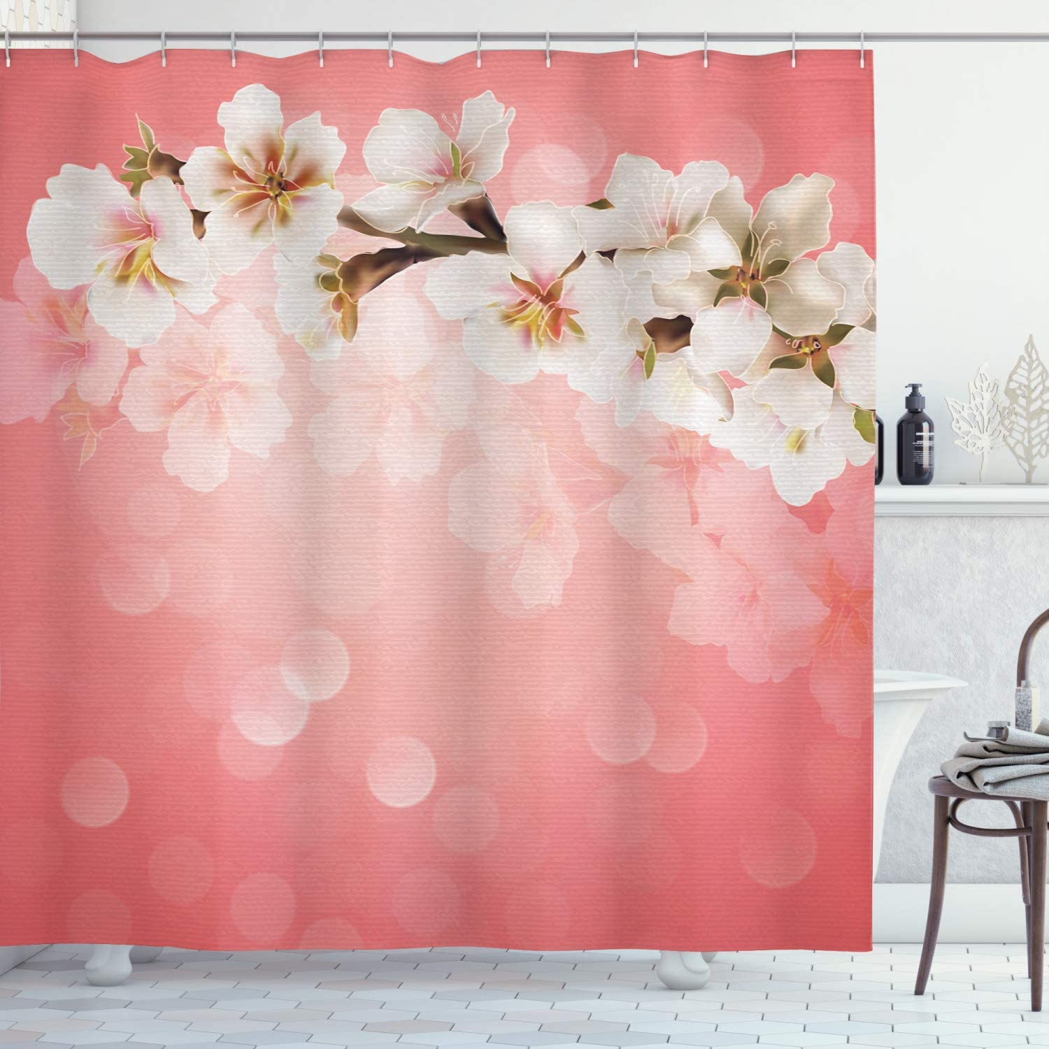 "Ambesonne Coral Shower Curtain, Blossoming Tree Branch Japanese Cherry Sakura Fresh Spring Garden Romantic, Cloth Fabric Bathroom Decor Set with Hooks, 70"" Long, Coral Green"