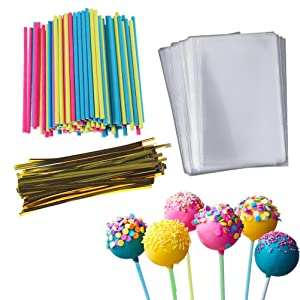 Cake Pop Treat Bag Set, 100 PCS Colorful Lollipop Sticks, 100 PCS Lollipop Parcel Bags with 100 PCS Metallic Twist Ties