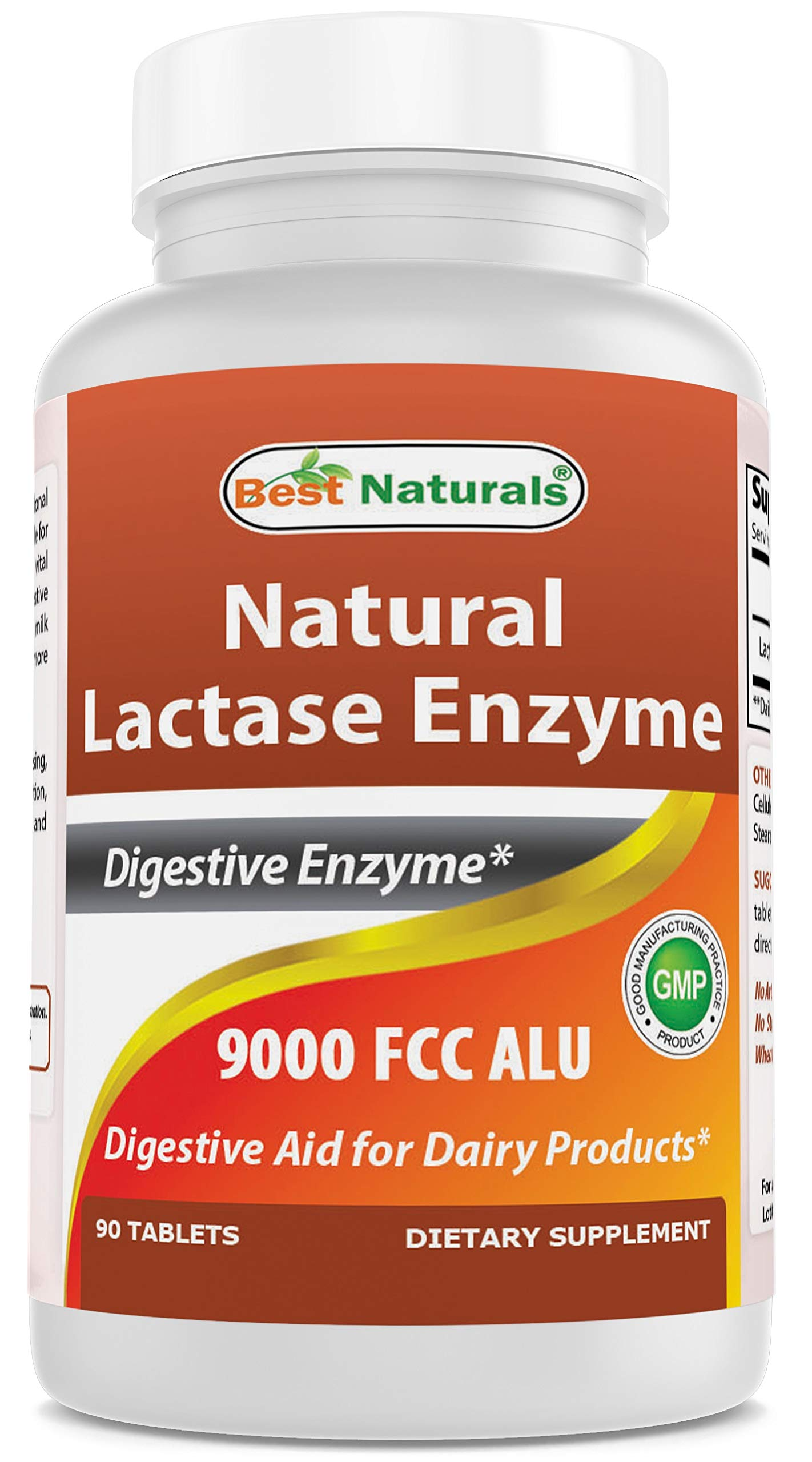 Best Naturals Lactose Intolerance Relief Tablets with Natural Lactase Enzyme, Fast Acting High Potency Lactase, 9000 FCC ALU, 90 Count by Best Naturals