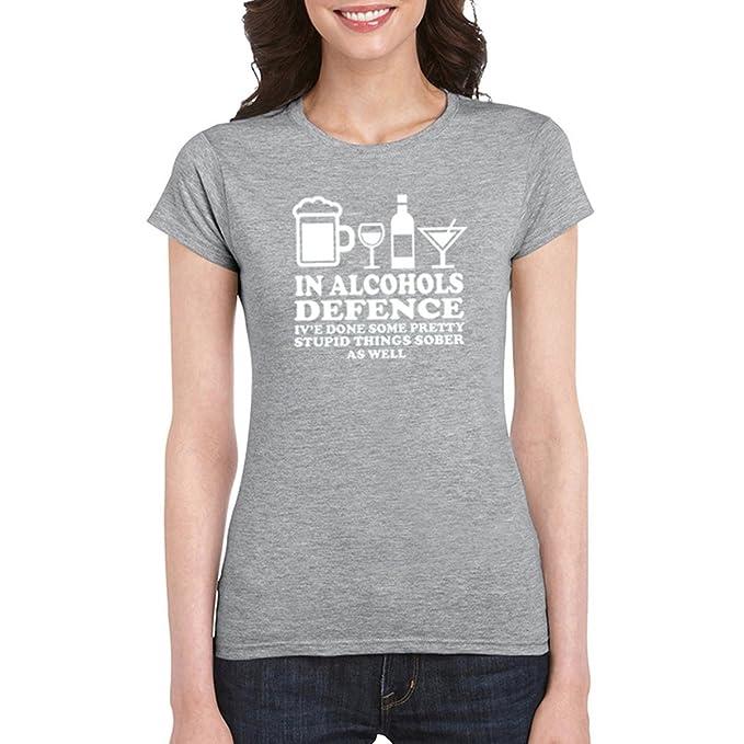 En Alcoholes Defensa Unisex Algodón Camisetas Más Tamaño Carta Imprimir Camisetas Gracioso Top (Color : Grey, Tamaño : XL): Amazon.es: Ropa y accesorios