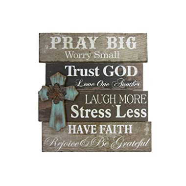 Young's 15287 Wood Pray Big Wall Sign with Cross, 21.75