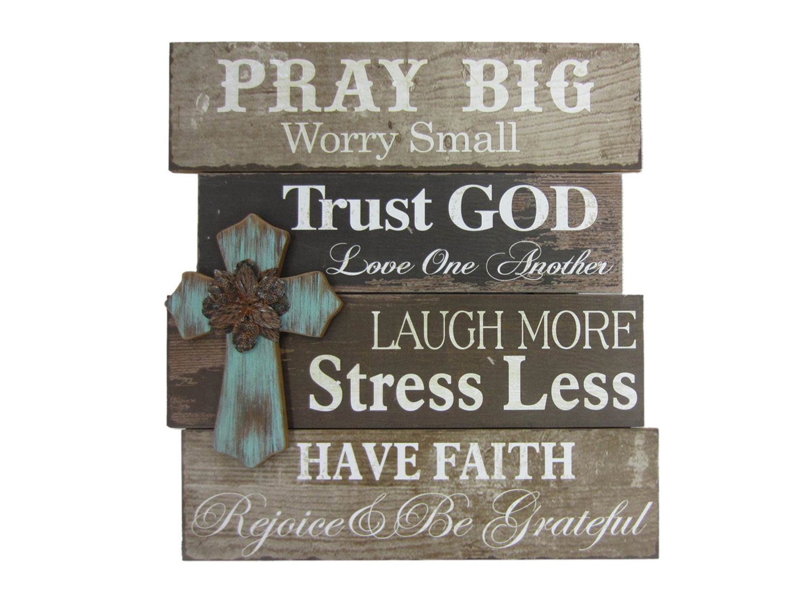 Young's 15287 Wood Pray Big Wall Sign with Cross, 21.75''