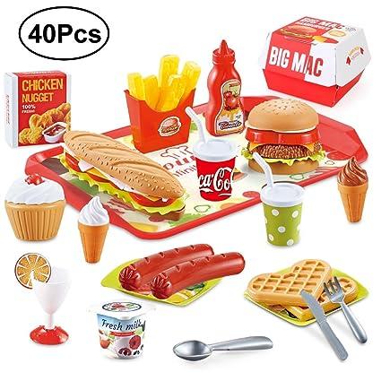 BeebeeRun Giocattolo da Cucina di Ruolo,Accessori Cucina per Bambini  Giocattolo Educativo(40 Pezzi )