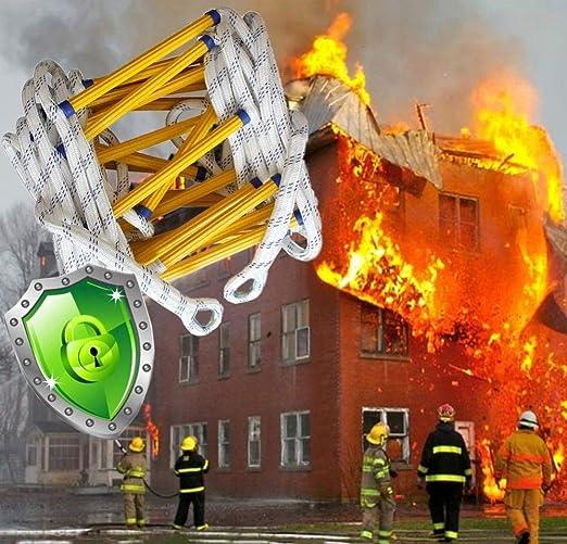 YXLONG Escalera Cuerda Escape Incendios Escalera De Cuerda De Escape Entrenamiento contra Incendios Auto-Rescate Escalada Blanda La Ventana Balcón Historia Escape 2 Ganchos,10m: Amazon.es: Hogar