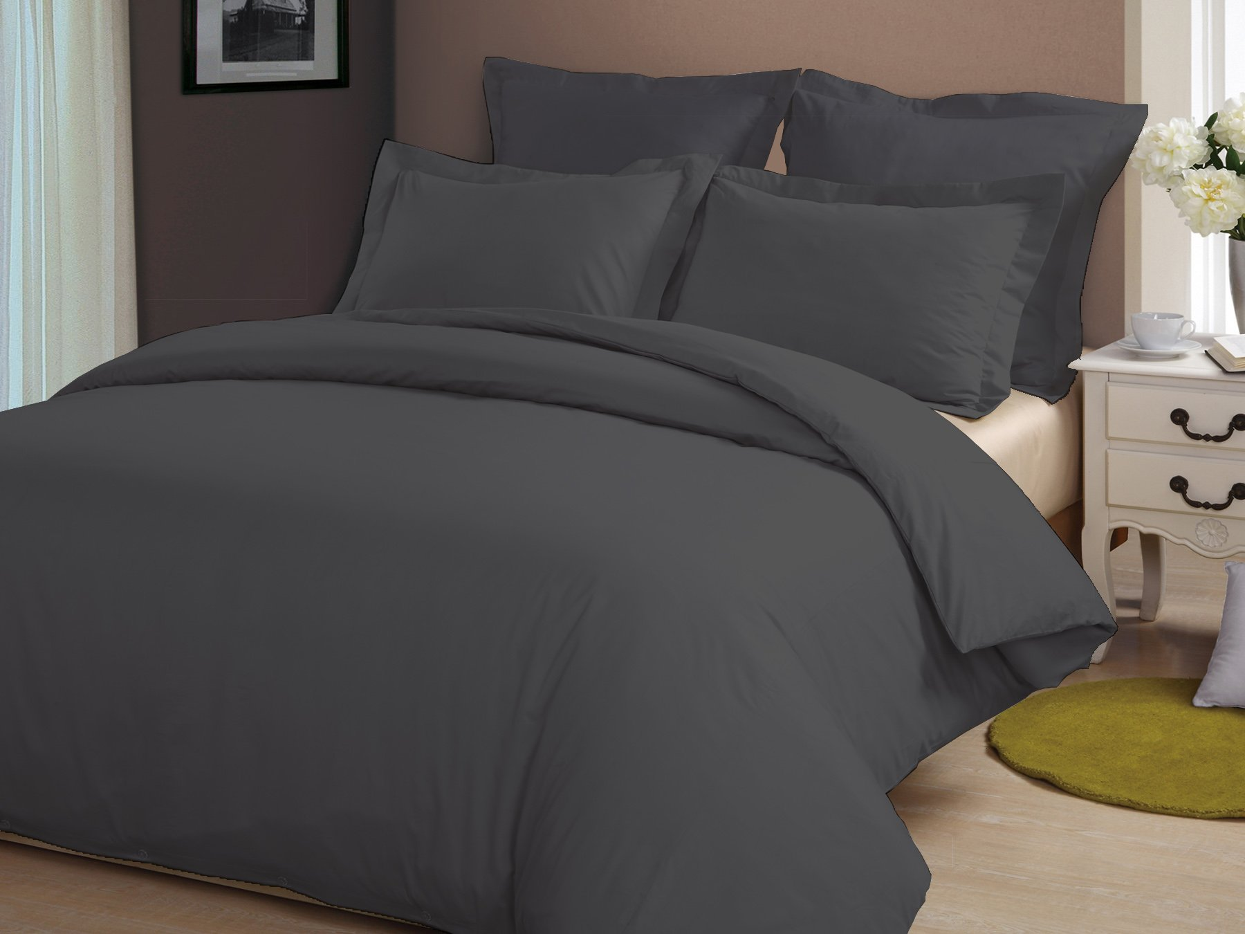 Bedding Homes 100% Egyptian Cotton 5 PC Duvet Set, Fluffy and Luxurious, 600 TC Duvet cover set, 1 Duvet cover, 4 Pillow Shams, Premium Quality bedding, Made in India.(Queen, Elephant Grey)