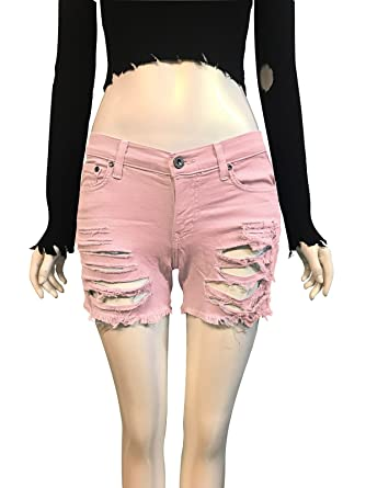 53e53109de Aphrodite Womens Distressed Ripped Hole Denim Jeans Shorts - Made In U.S.A  at Amazon Women's Clothing store: