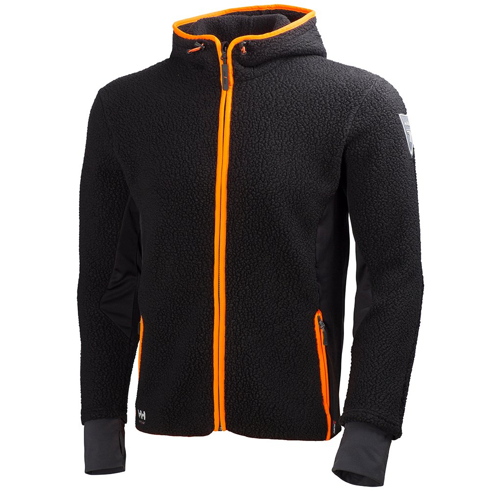 3XL Helly Hansen Workwear Fleecejacke Mjolnir Hood Faserpelz Arbeitsjacke mit Kapuze schwarz 72269