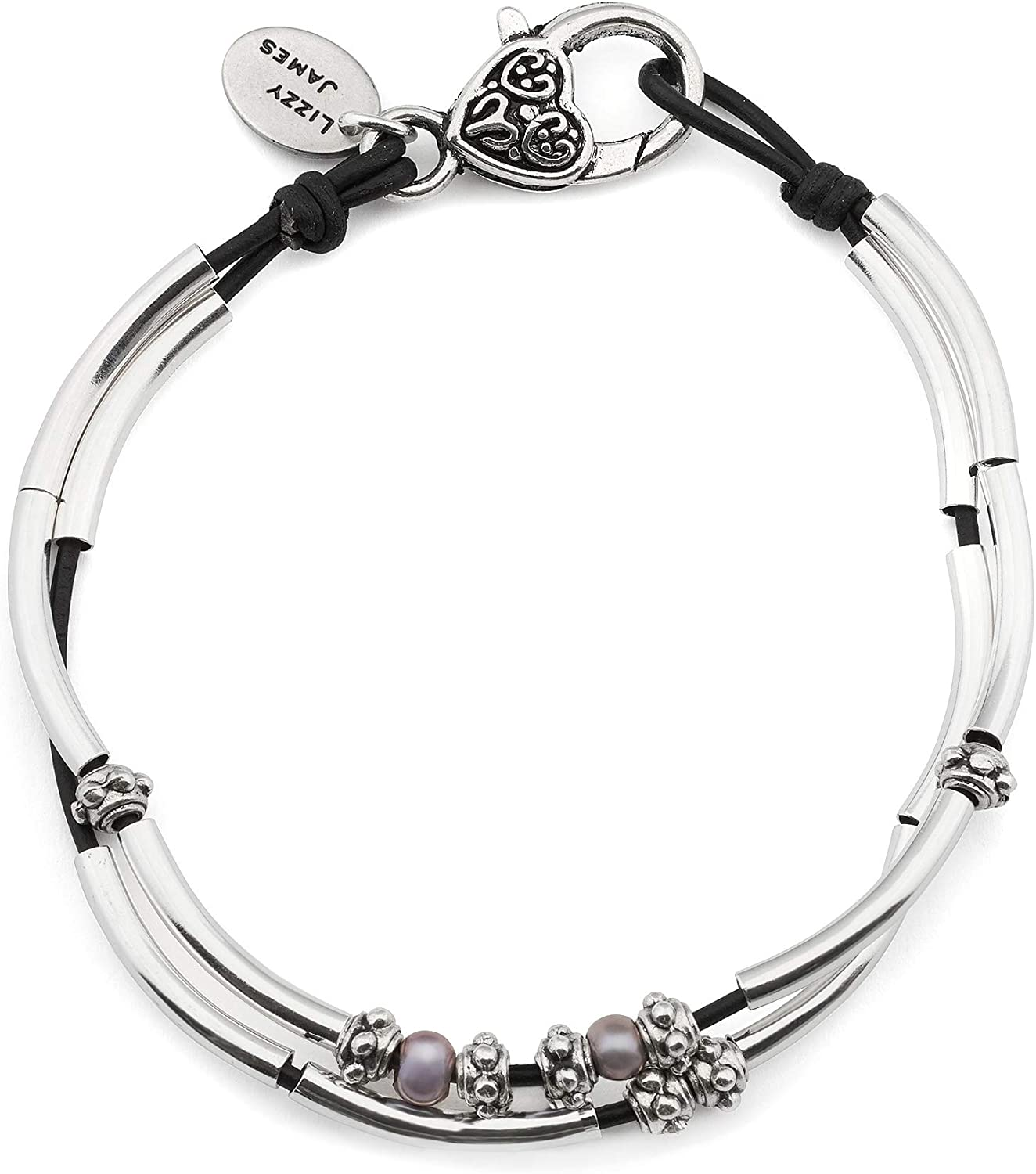 Lizzy James Lucy Anklet in Natural Black Leather Silver Plate Crescents and Freshwater Pearls