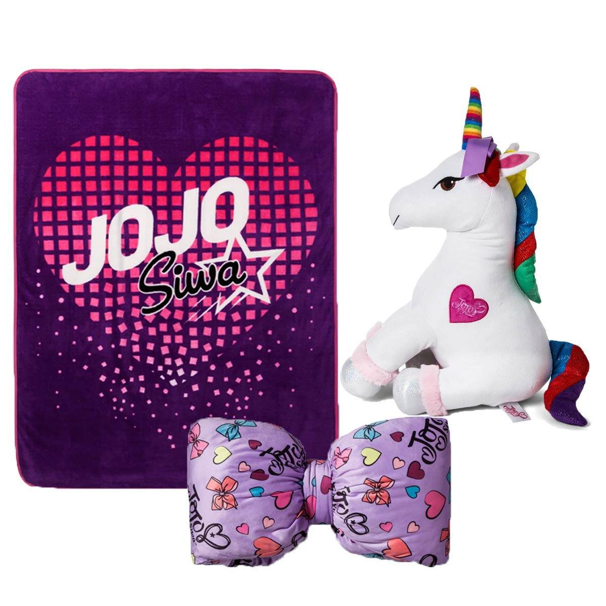 PricelessTreasures JoJo Siwa Bed Collections, Unicorn and Ribbon Plush Throw Pillow with Purple Blanket, Colorful Bedding Set for Girls, Christmas and Birthday Gift Set for Little Girls and Kids by PricelessTreasures