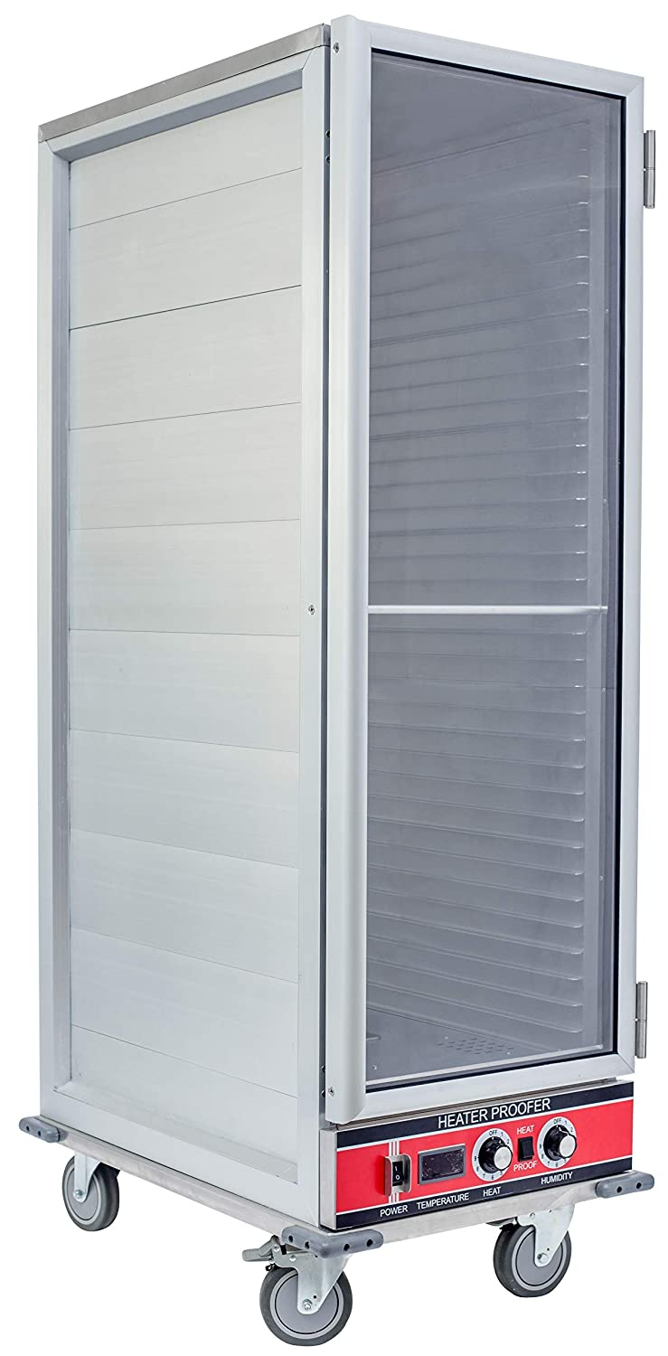 Chef's Exclusive CE800 Heater Proofer Holding Cabinet Non-Insulated Clear Door 1500 Watts Commercial Full Size Holds (35) 18in x 26in Sheet Pans Forced Air With Casters For Mobile Use, 22.8in Wide
